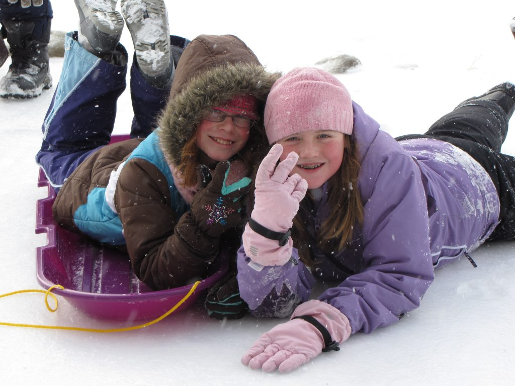 Mary Claire and a Friend in the Snow