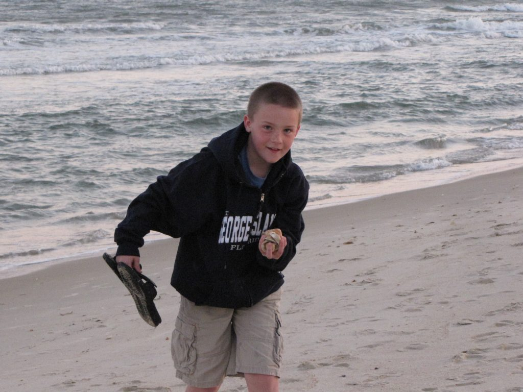George Running on the Beach