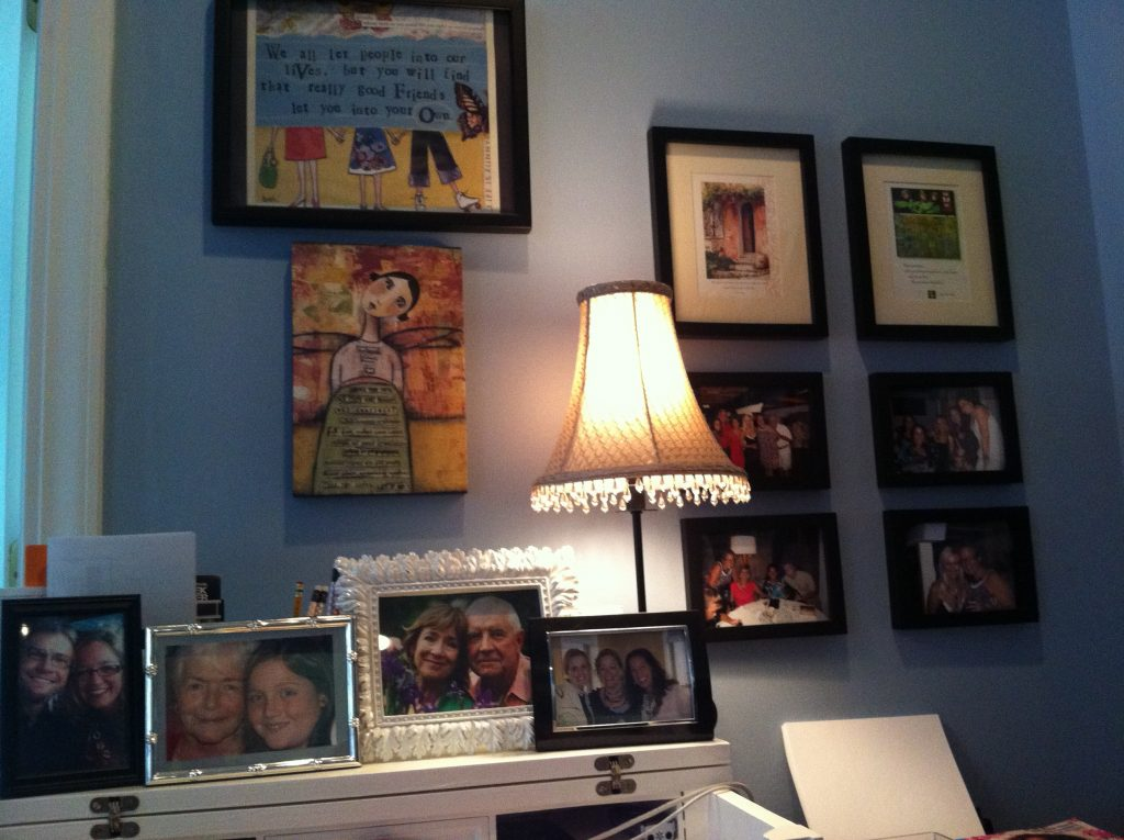 Photographs and Lamp
