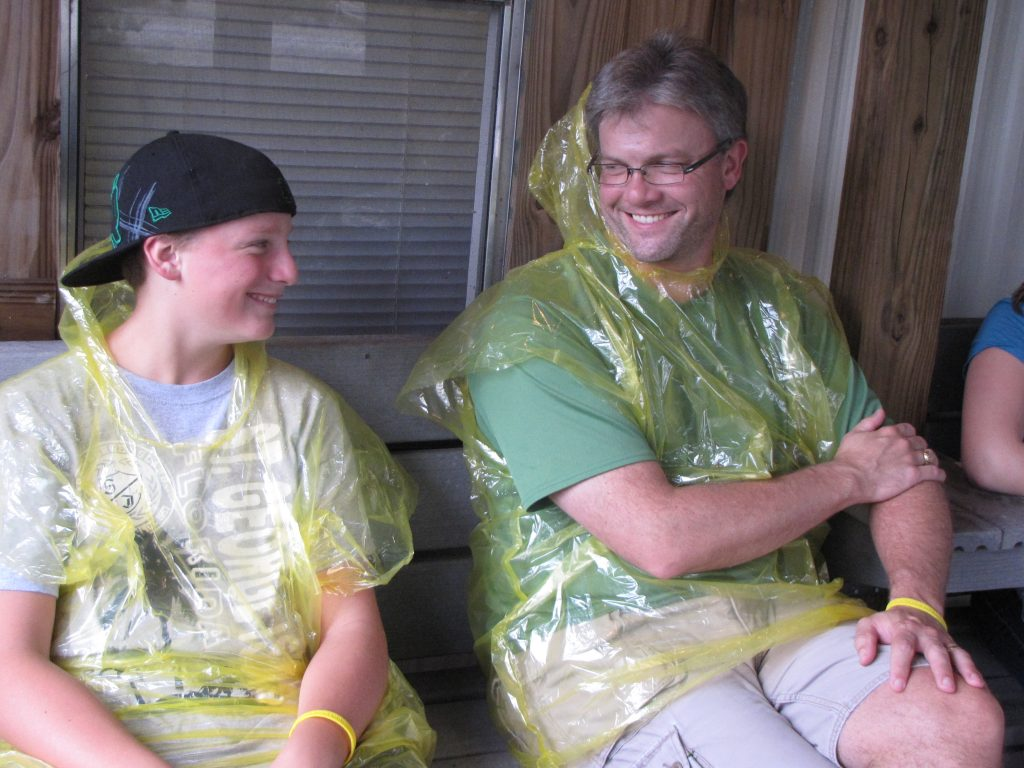 Sam and Chris in Rain Ponchos