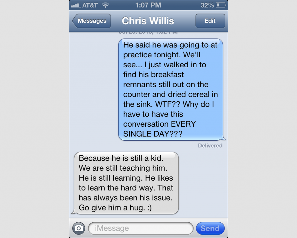 Screenshot of Text Messages with Chris