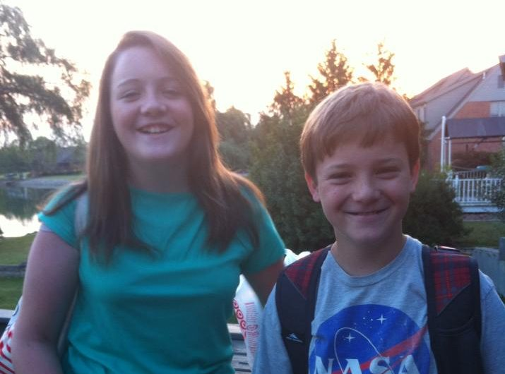 Mary Claire and George on the First Day of School